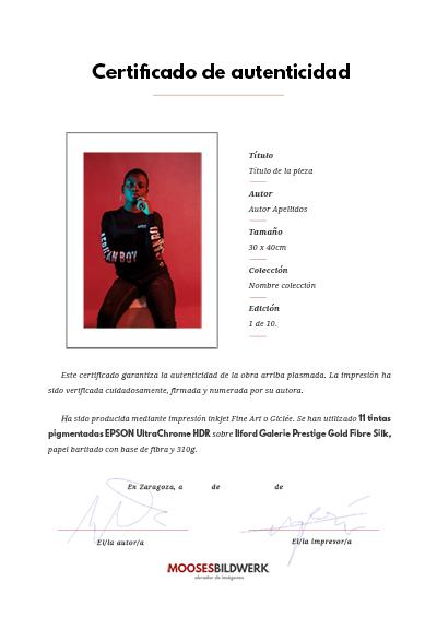Certificado de autenticidad arte, giclée